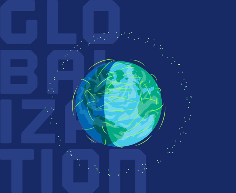 Globalization graphic showing the earth with satelites