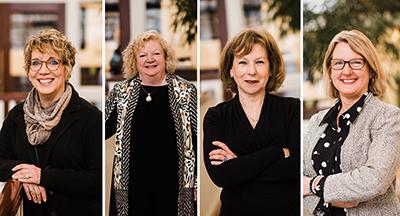 2019 commencement speakers Patti Hays, Marilyn Moran-Townsend, Rachel Tobin-Smith and Faith Van Gilder