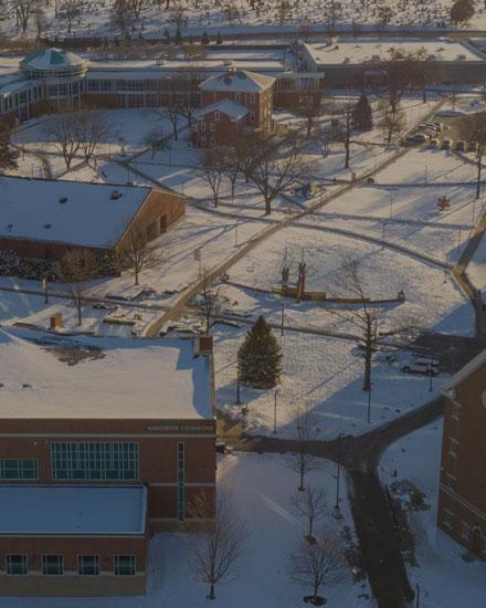 Snowy Campus Aerial Shot