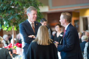 President Karl W. Einolf greeting visitors during the Inauguration lunch