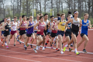 Indiana Tech student athlete competing against visiting teams on the outdoor track