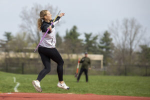 Indiana Tech student preparing to throw a javelin