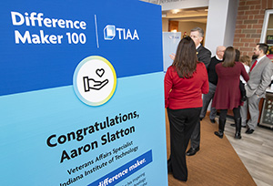 photo of poster recognizing Aaron Slatton's Difference Maker award from TIAA