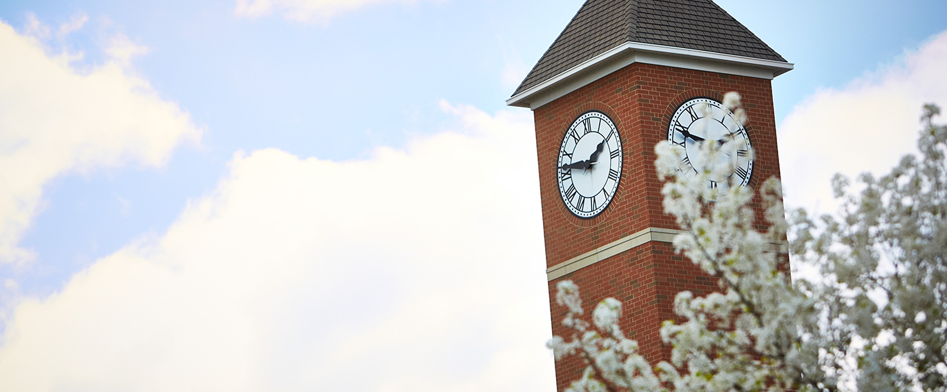 The clock tower on the Abbott Center, which is home to Indiana Tech's new Welcome Center.