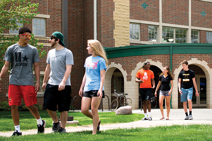 Indiana Tech students walking from Pierson Center.