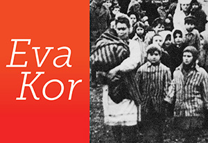 graphic to promote Eva Kor's visit to Indiana Tech. within the graphic is a photo of prisoners at auschwitz.