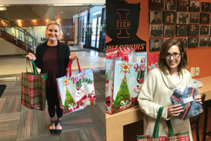 two young women students holding their donations for the food drive leading up to the inauguration of President Karl W. Einolf