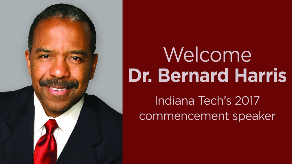 This is a photo of Dr. Bernard Harris, Indiana Tech's commencement speaker for 2017.