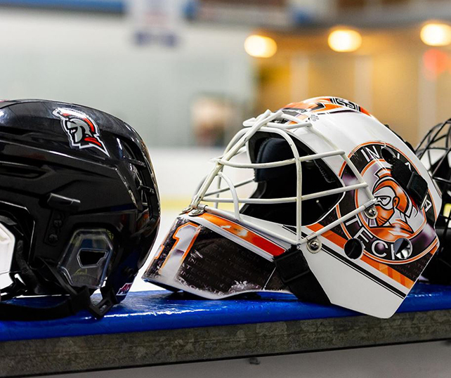 image of Indiana Tech hockey helmets