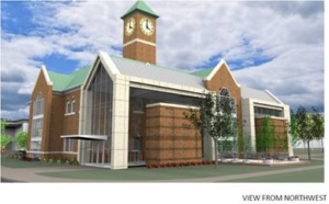 side rendering of the Abbott Center featuring the new welcome center