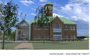 front rendering of the Abbott Center featuring the new welcome center