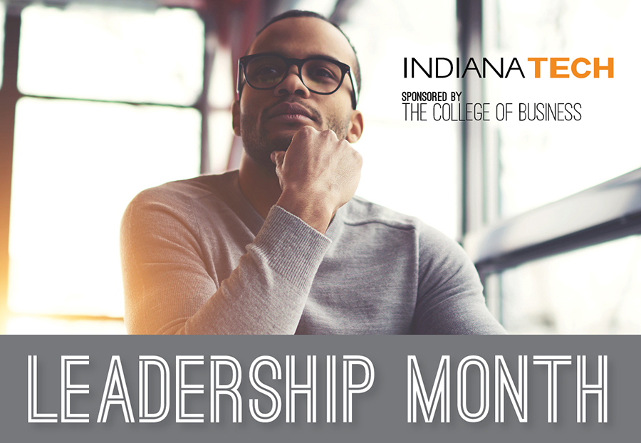 This is a photo of a contemplative man used to promote Indiana Tech Leadership Month activities.