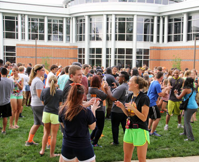New students get to know each other at Play Fair during orientation 2014.