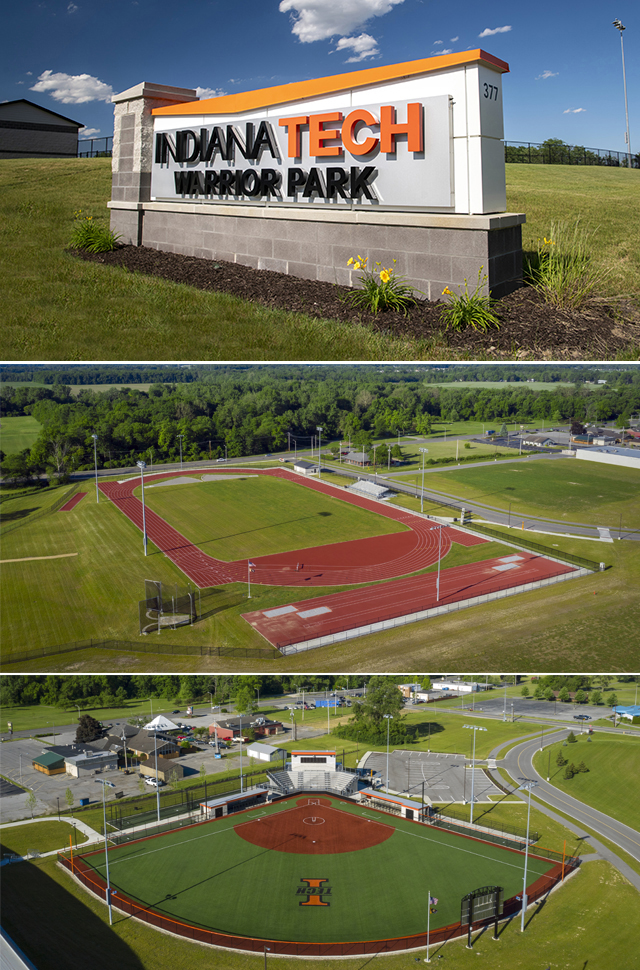 warrior park collage showing sign, track and softball field