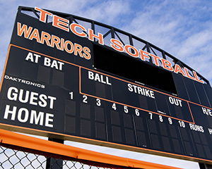 photo of warrior park softball scoreboard