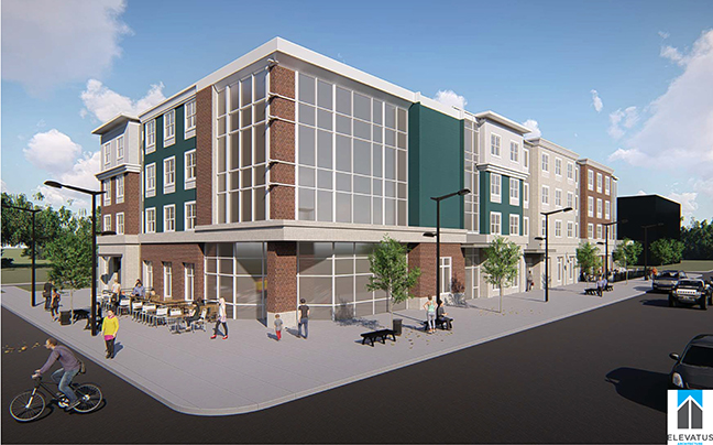 An artist rendition of the proposed dorm/retail space to be built on the northeast corner of Schick St. and East Washington Blvd.