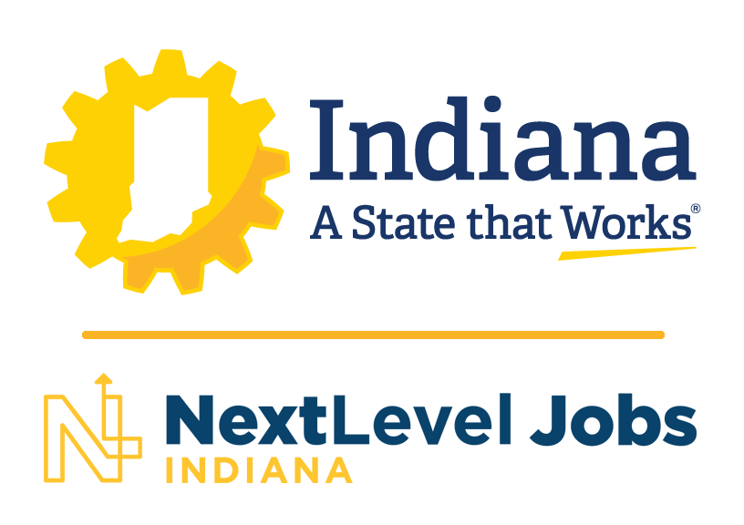 indiana: a state that works logo combined with nextlevel jobs indiana logo