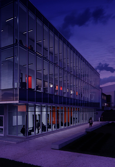 Zollner Renovation image featuring the new facade full of windows
