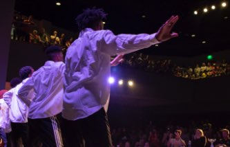 Students performing in the mutliflex theater